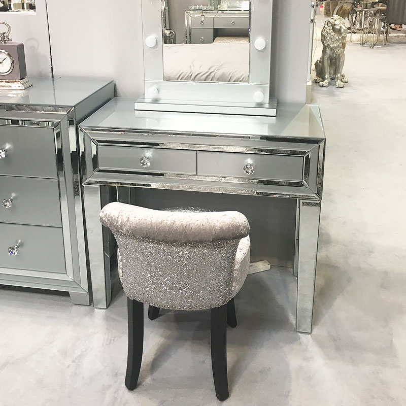 Madison Grey Glass Mirrored 2 Drawer Console Table
