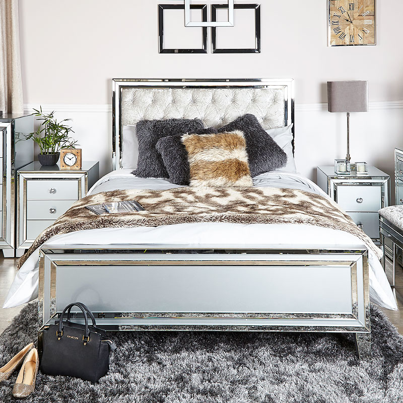 Madison Grey Mirrored King Size Bed Frame Picture Perfect Home