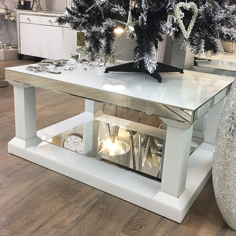 madison white mirrored glass 110cm coffee table