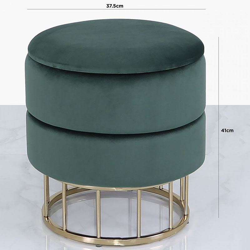 forest green velvet and gold metal round storage ottoman stool