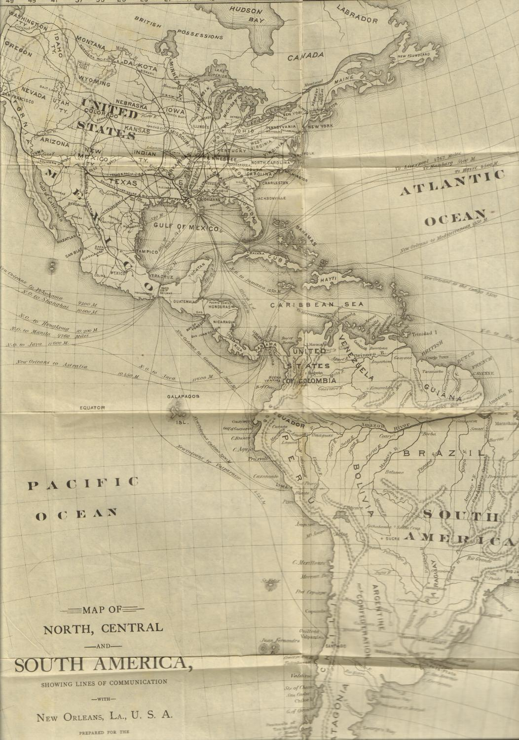 Map Of North Central And South America Showing Lines Of