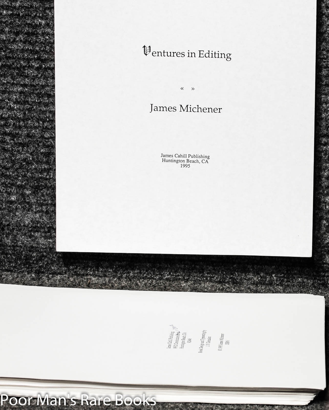 Ventures In Editing Pre Printing Typescript With Annotated Corrections By James A Michener