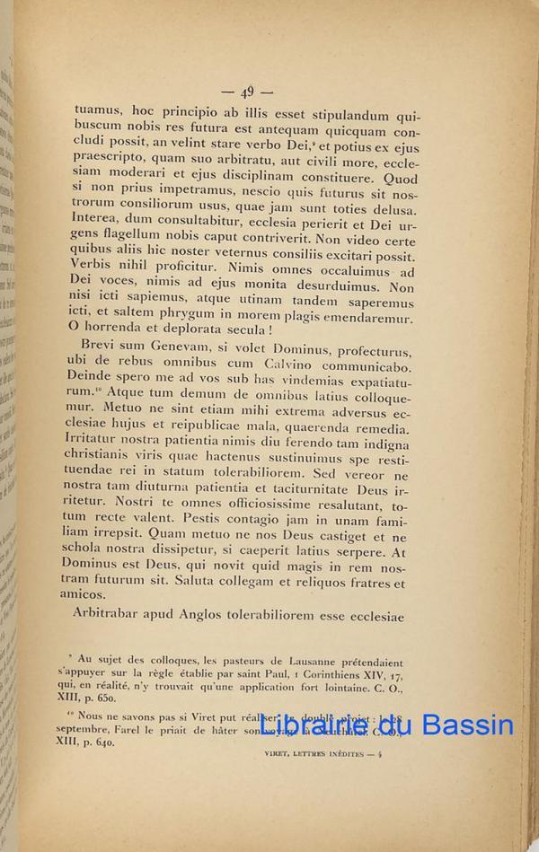 Quelques lettres inédites de Pierre Viret publiées avec ...