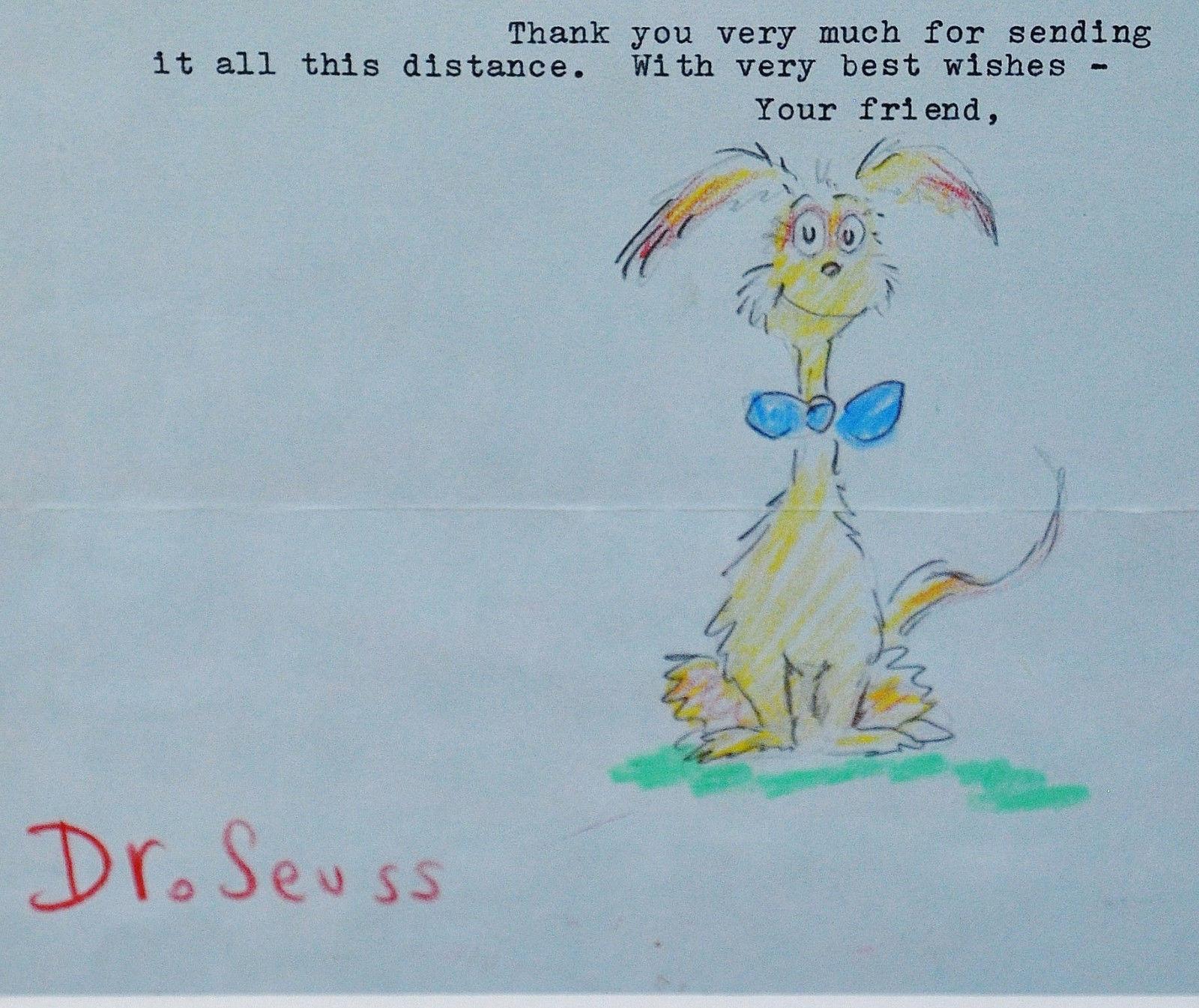 Stunning Framed Signed Original Drawing Dr Seuss W