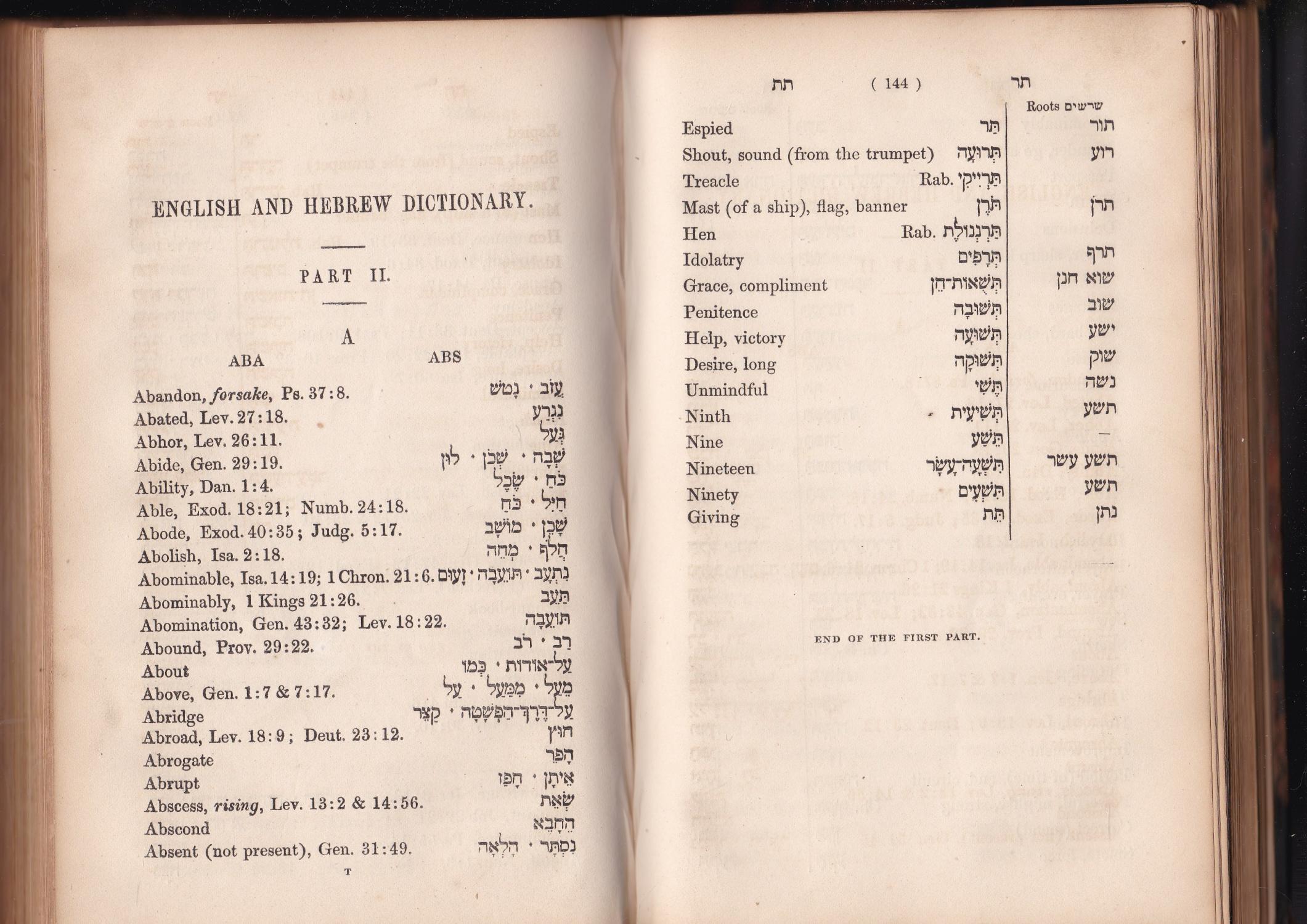 A Hebrew And English And English And Hebrew Dictionary