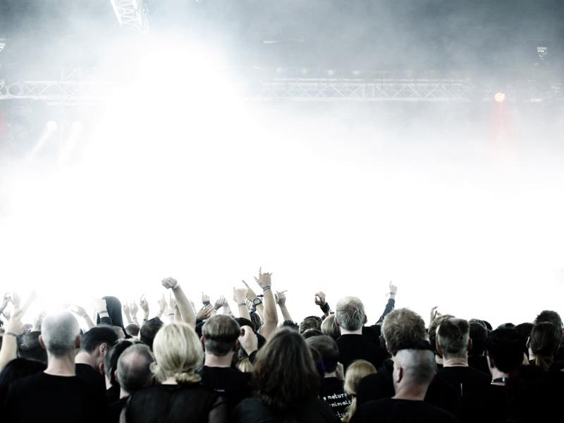 concertgoers and bright lights