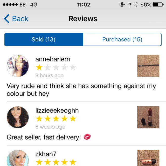 Feedback like this makes me feel sick. I thought - Depop