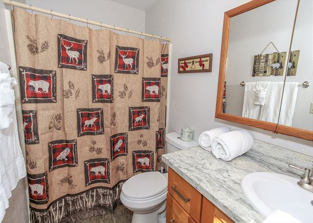 Master Bathroom with Shower bath and rustic decor.