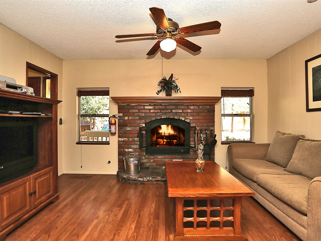 A roaring fire on a cool, Big Bear evening make this an ideal place to relax on your vacation.