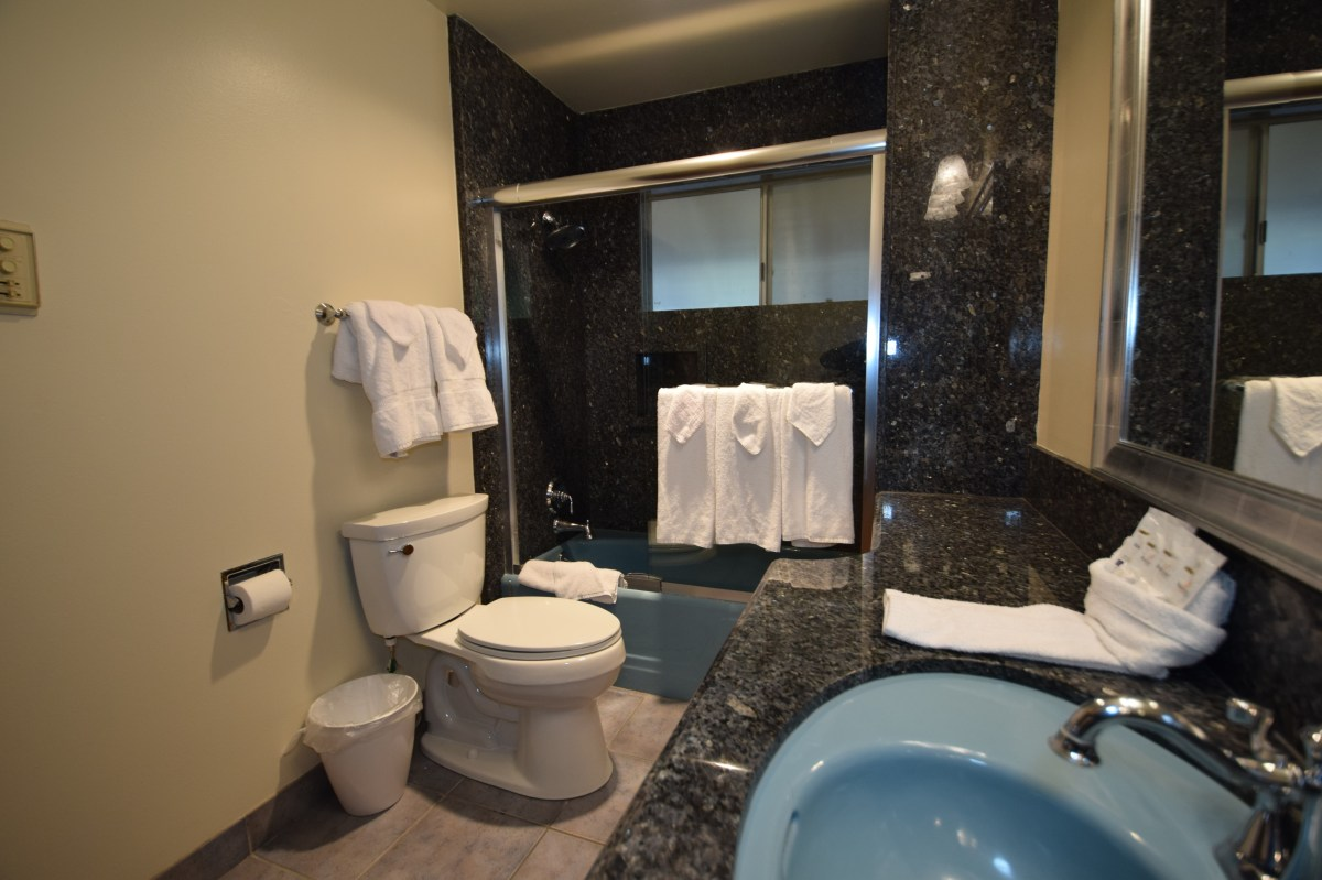 Includes a large shower/bath and a large mirror.