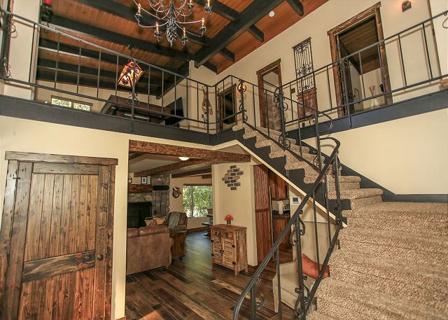 Modern wood furnishings and rustic decor.
