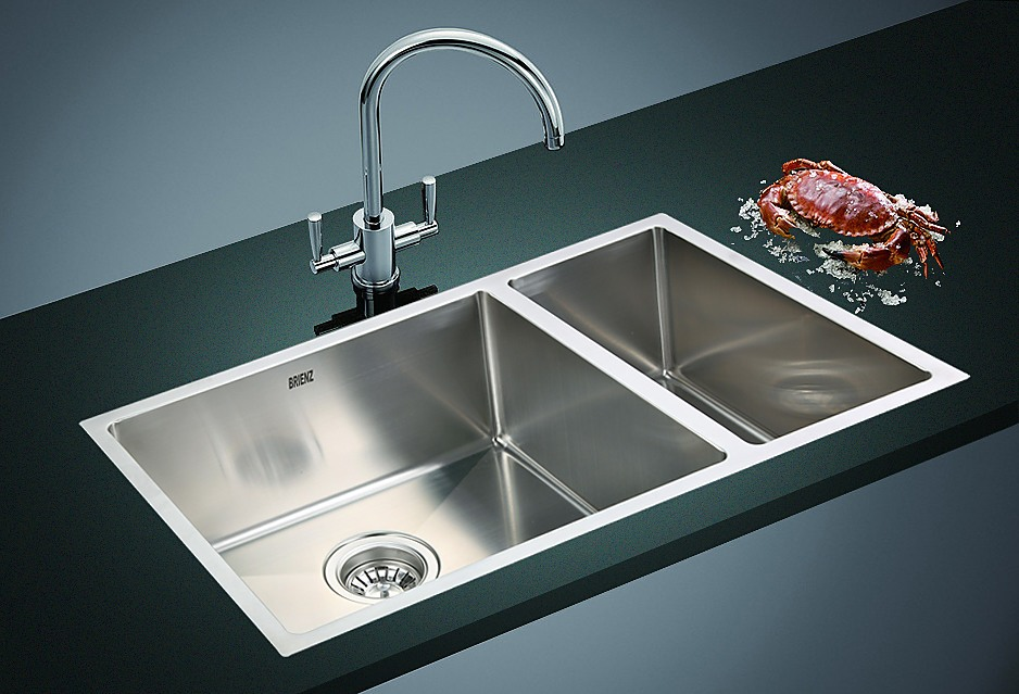 12mm Handmade Double Stainless Steel Sink With Waste