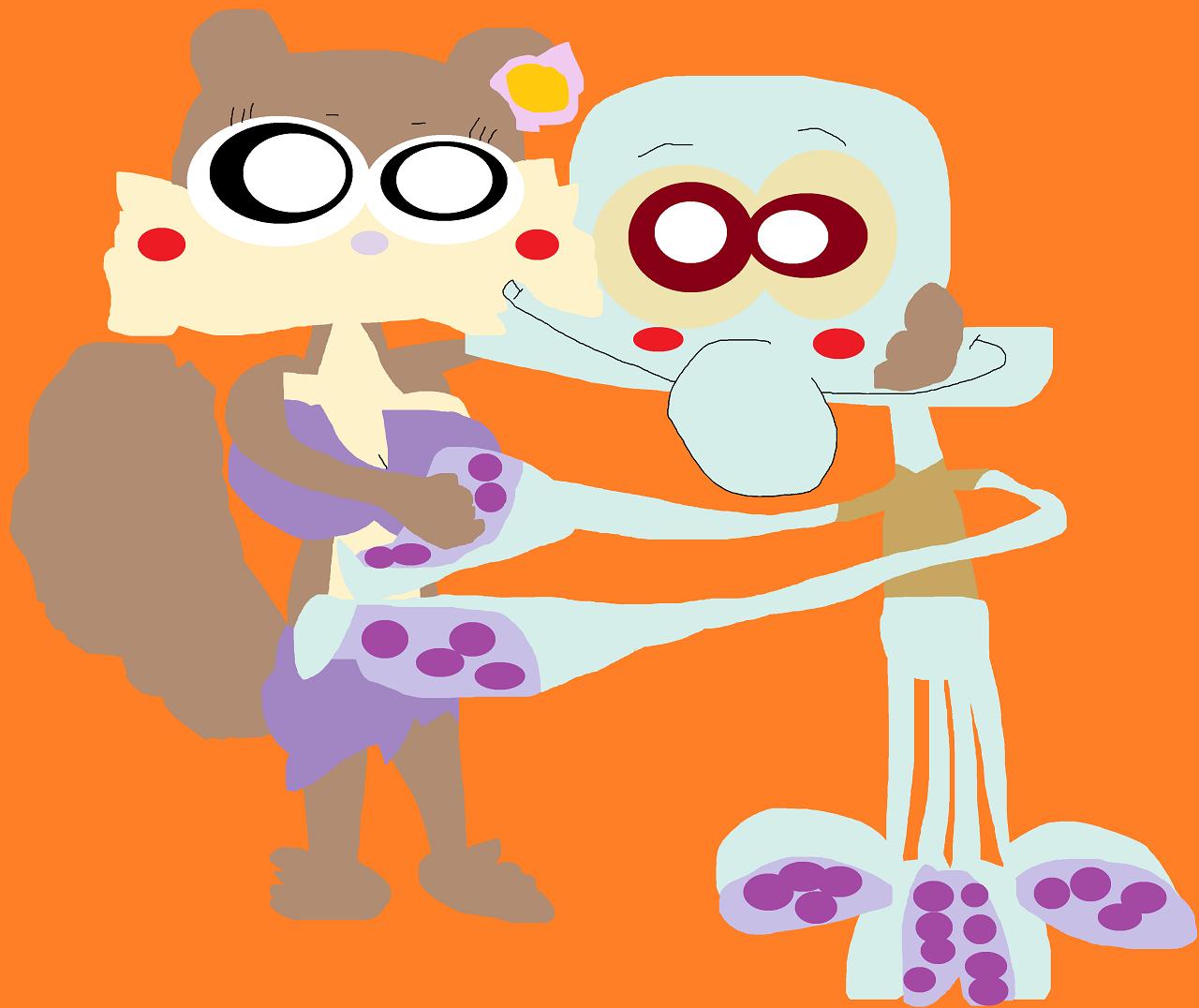 Sandy Kissing Squidward