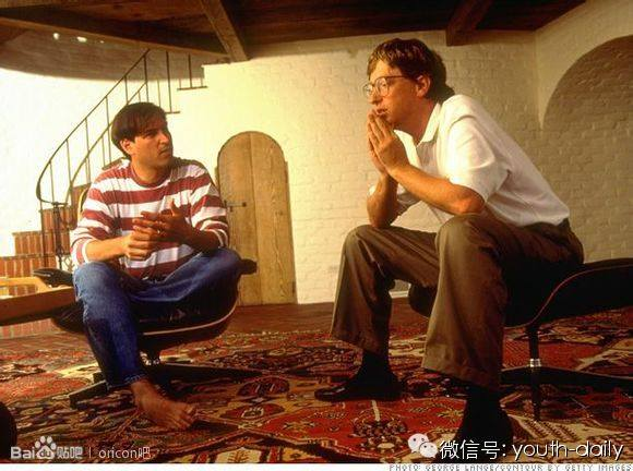 Steve Jobs and Bill Gates together in basement