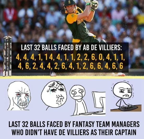 AB De Villiers innings and fantasy league