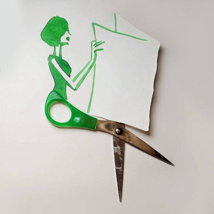 Artistic scissor lady reading newspaper