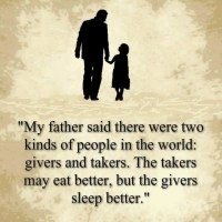 The takers may eat better, but the givers sleep better