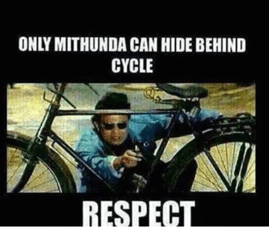 Only Mithun Chakravarty can hide behind a cycle