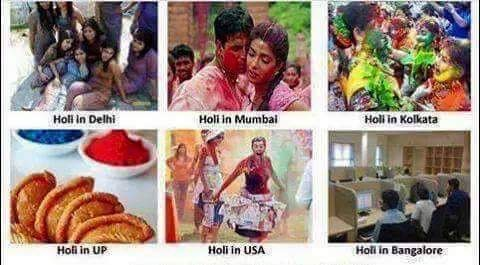 Holi celebration at different places