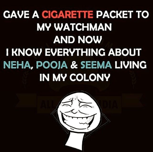A cigarette packet can be one of the best bribe