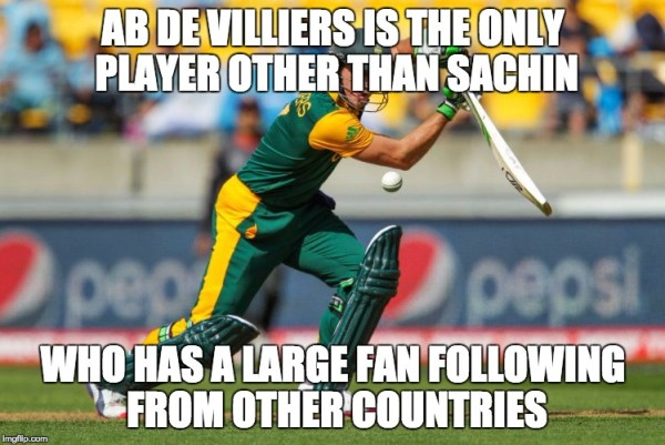 After Sachin Ab de villiers has great fan following from other countries as well