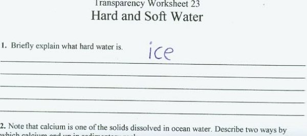Best answer to what hard water is