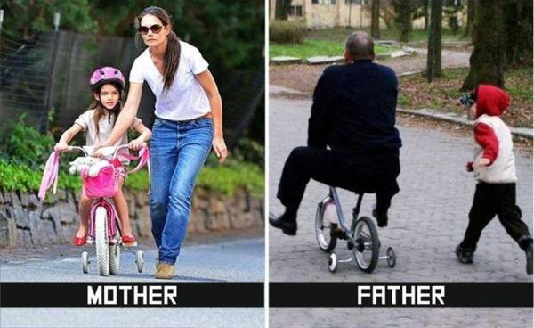 How parents teach you to ride bicycle