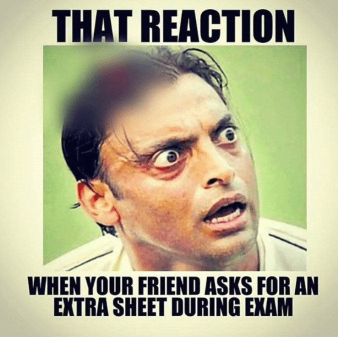 Exam extra sheet your reaction friend - whatsapp image