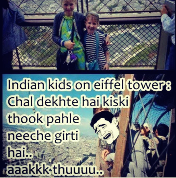 Indian kids Eiffel tower top view competition - indian image