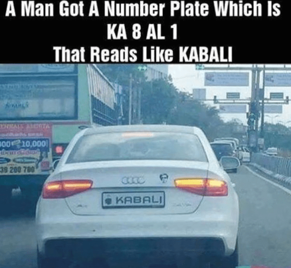 The real fan of Rajnikant - Kabali as number plate