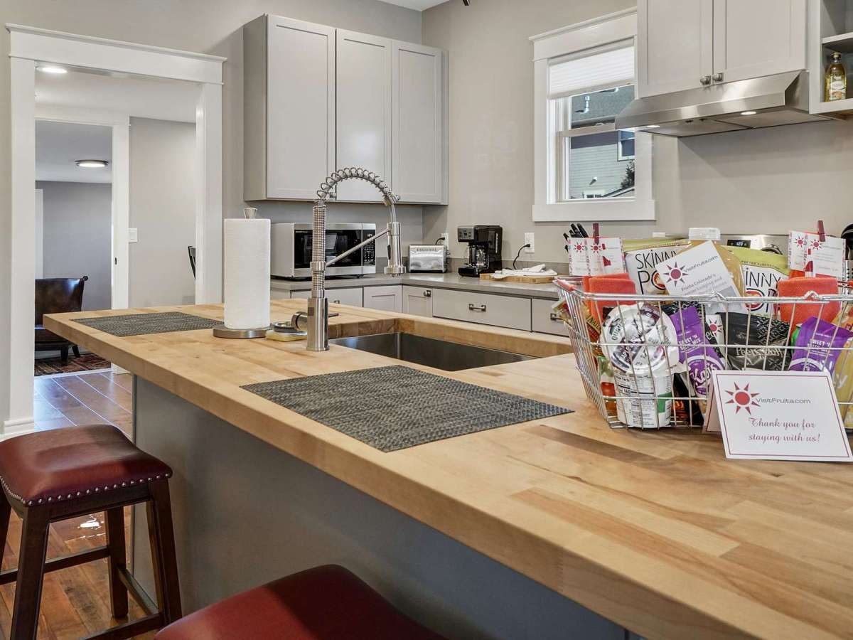 Big kitchen with all amenities. and a guide book to your temporary home.