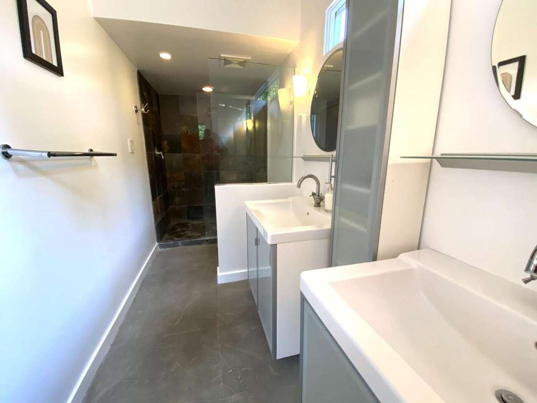 Two sinks and shower in master bathroom