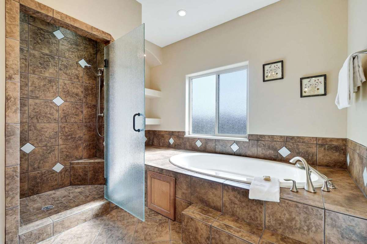 Master bathroom has an enormous jetted tub
