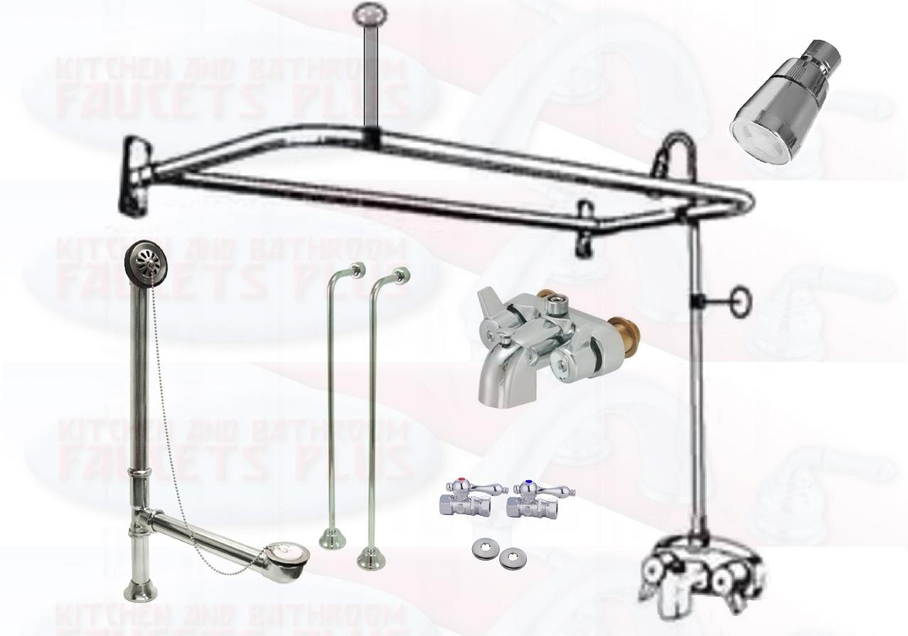 Details About Chrome Clawfoot Tub Faucet Add A Shower Kit W D Ring Enclosure Drain Supplies