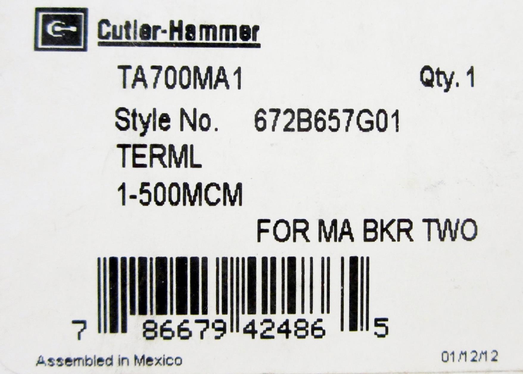 Cutler Hammer Ta700ma1 Circuit Breaker Lug Terminal Line Load Term