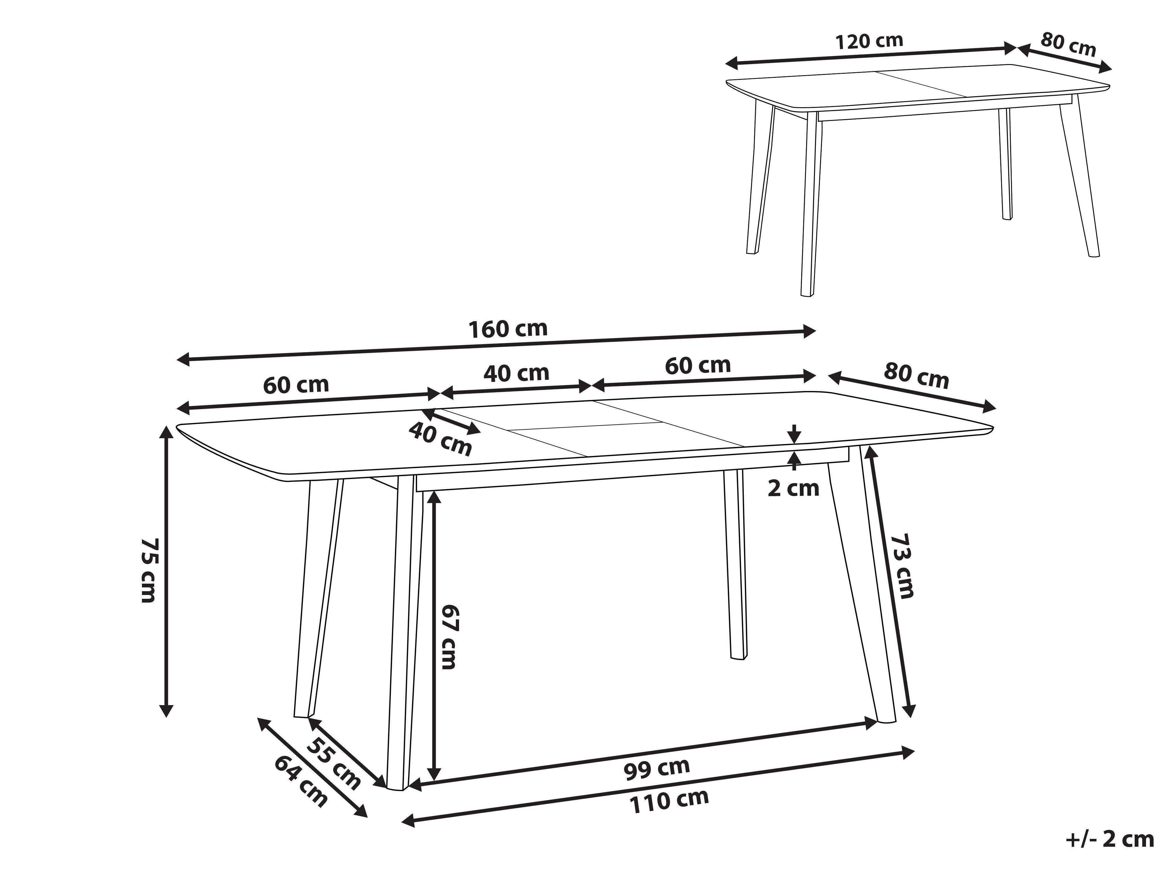 table de cuisine extensible 120 160