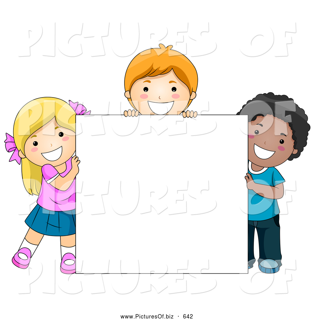 Vector Clipart Of Happy Diverse School Kids With A Blank