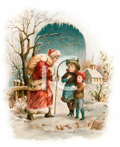 Children With Victorian Santa Claus Royalty Free Clipart