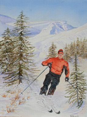 Ski Day 16x12 Canvas
