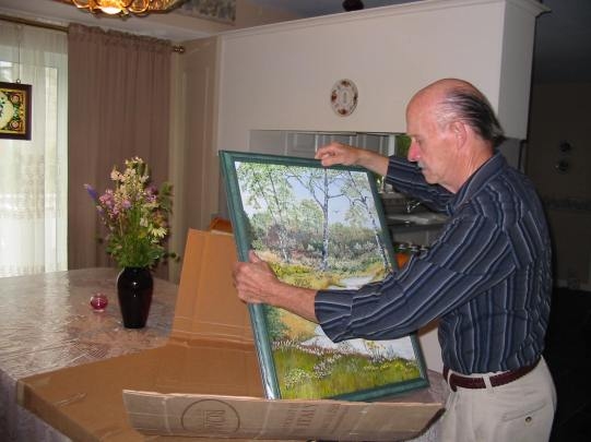 Mr. Burt packing Tranquillity for transportation to a private collector.