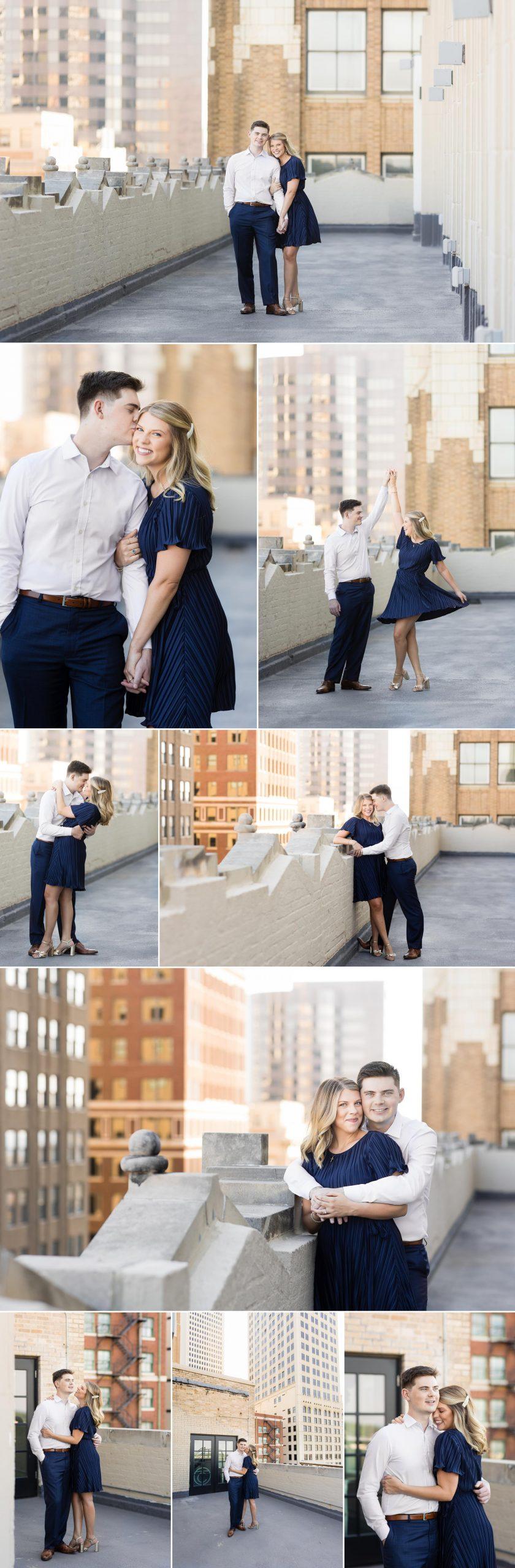 Tulsa Club Rooftop Engagement Session Wedding