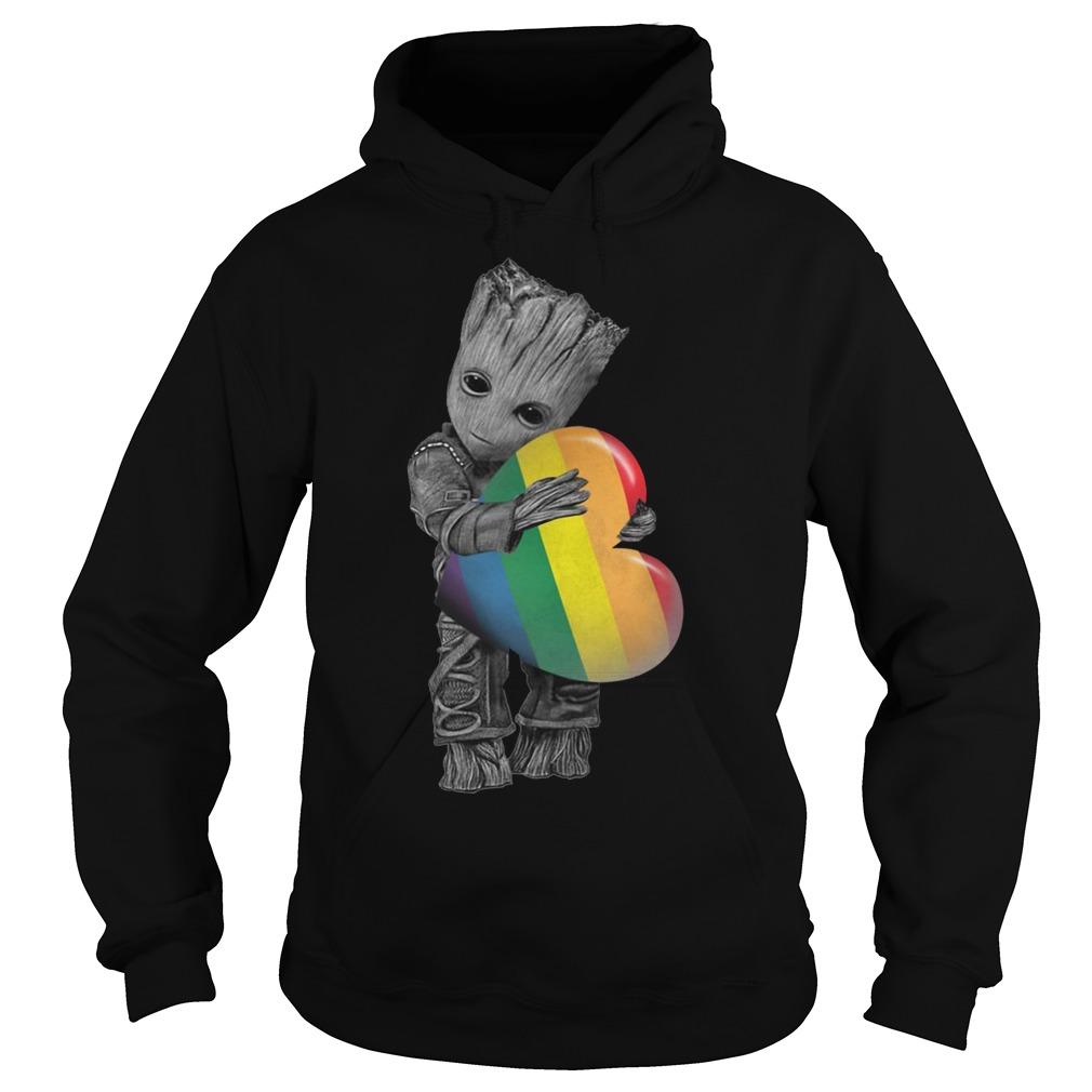 Official Baby Groot hug heart LGBT Hoodie
