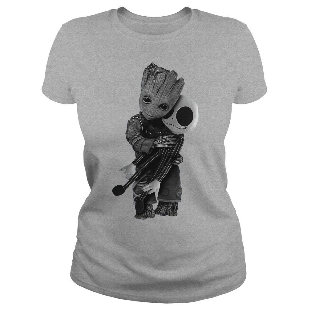 Official Baby Groot hug Jack Skellington Ladies tee