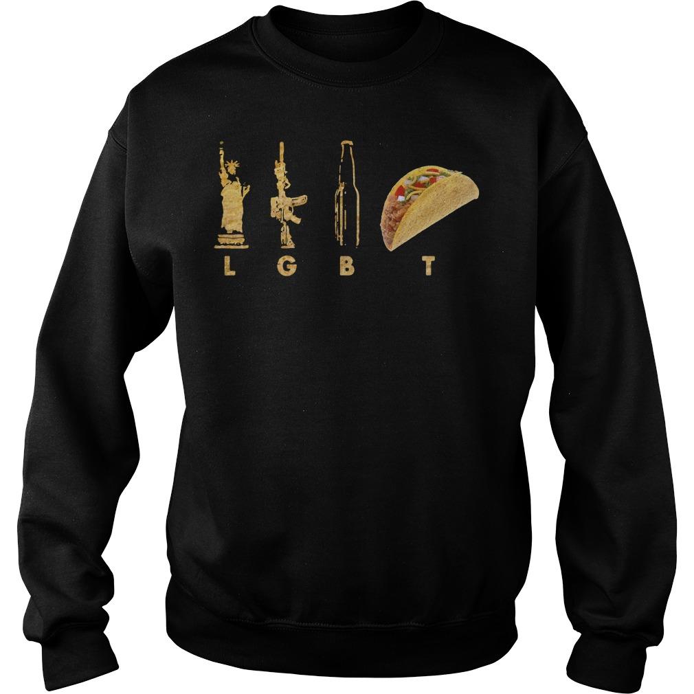 Official Liberty Guns Beer Tacos LGBT pride Sweater