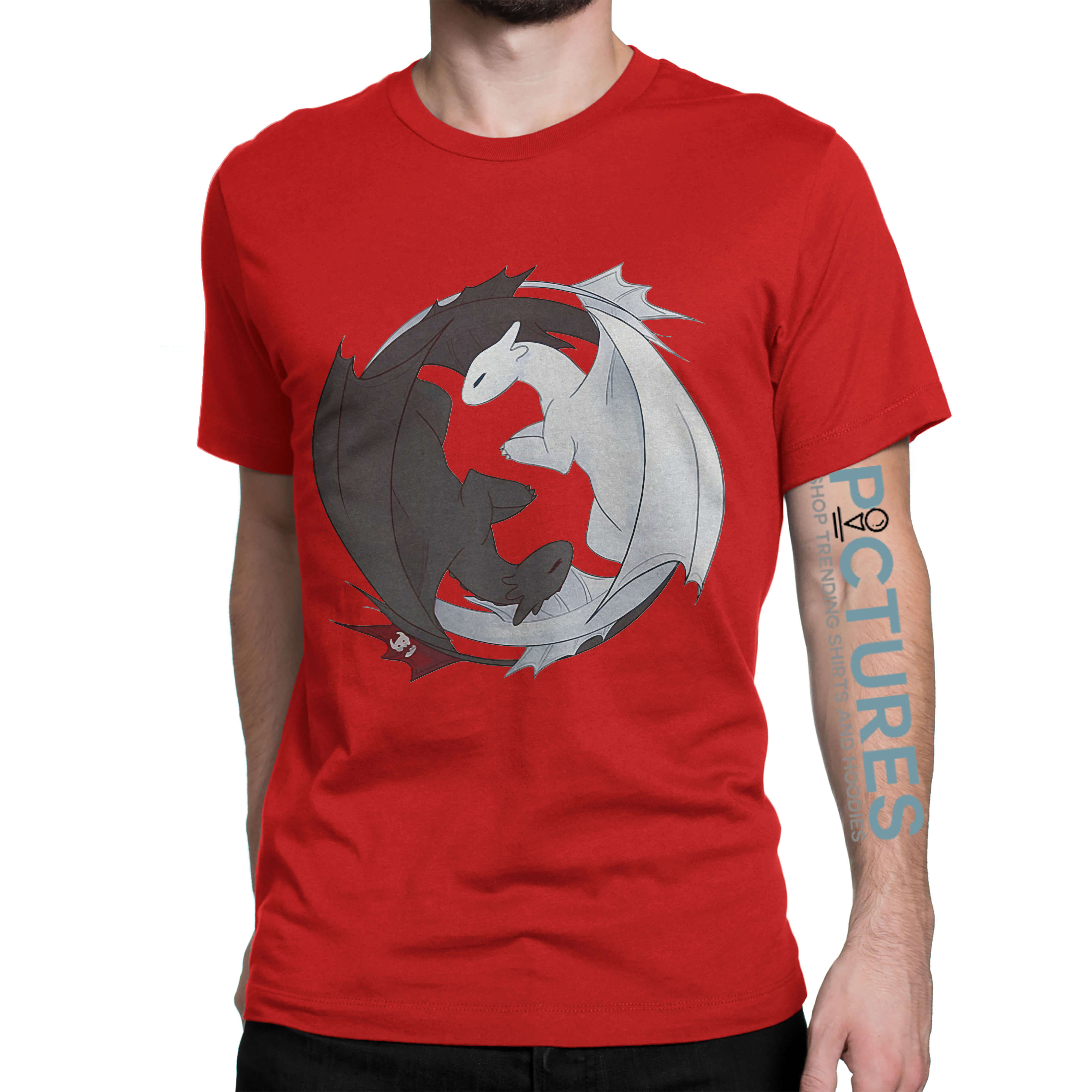 Official Toothless Night Fury and Light Fury Yin Yang shirt