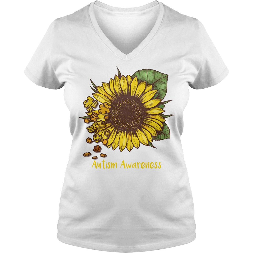 Autism awareness sunflower V-neck
