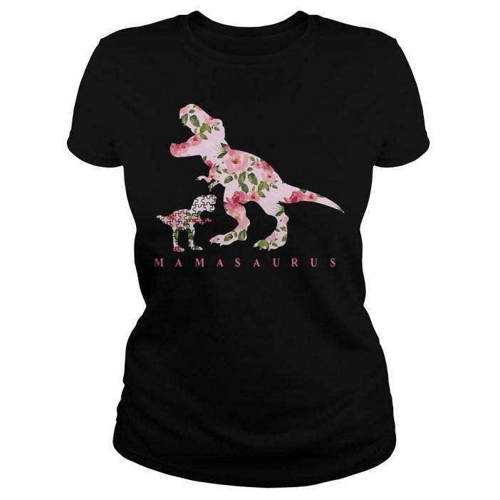 Autism Mamasaurus floral Ladies tee