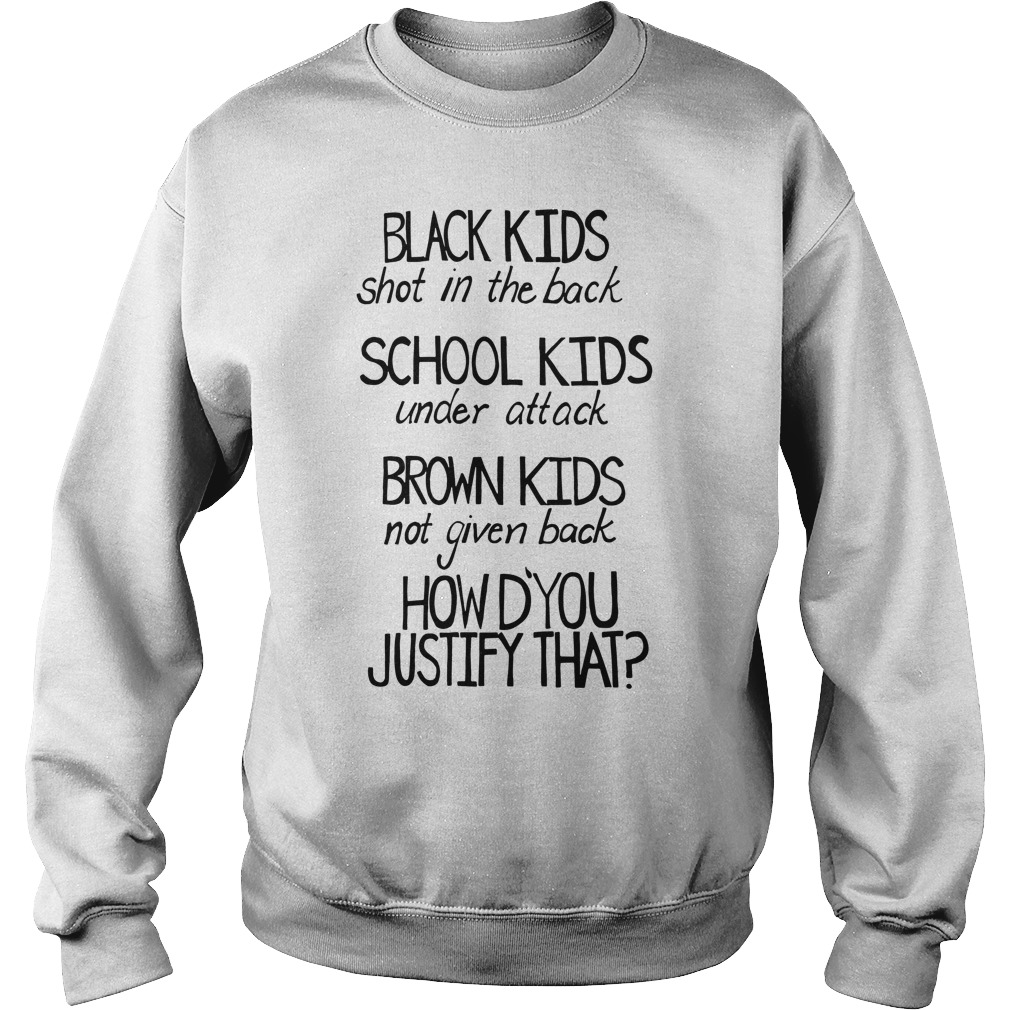 Black kids shot in the back School kids under attack how to justify that Sweater