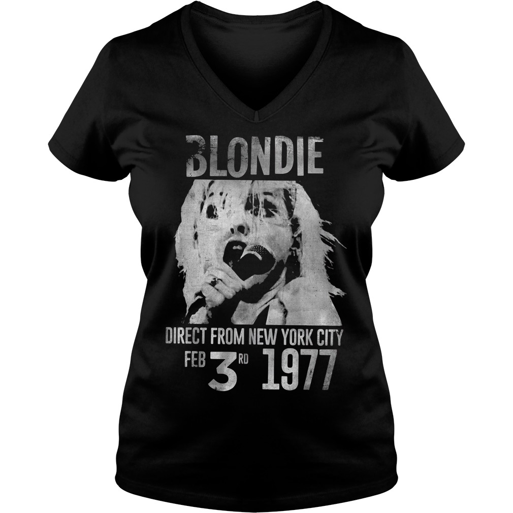 Blondie direct from city Feb 3rd 1977 V-neck t-shirt