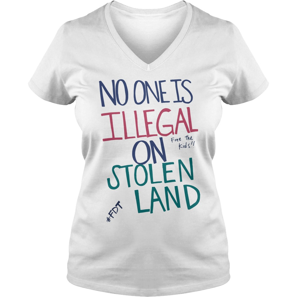 Official No one is illegal on stolen land free the kids V-neck t-shirt
